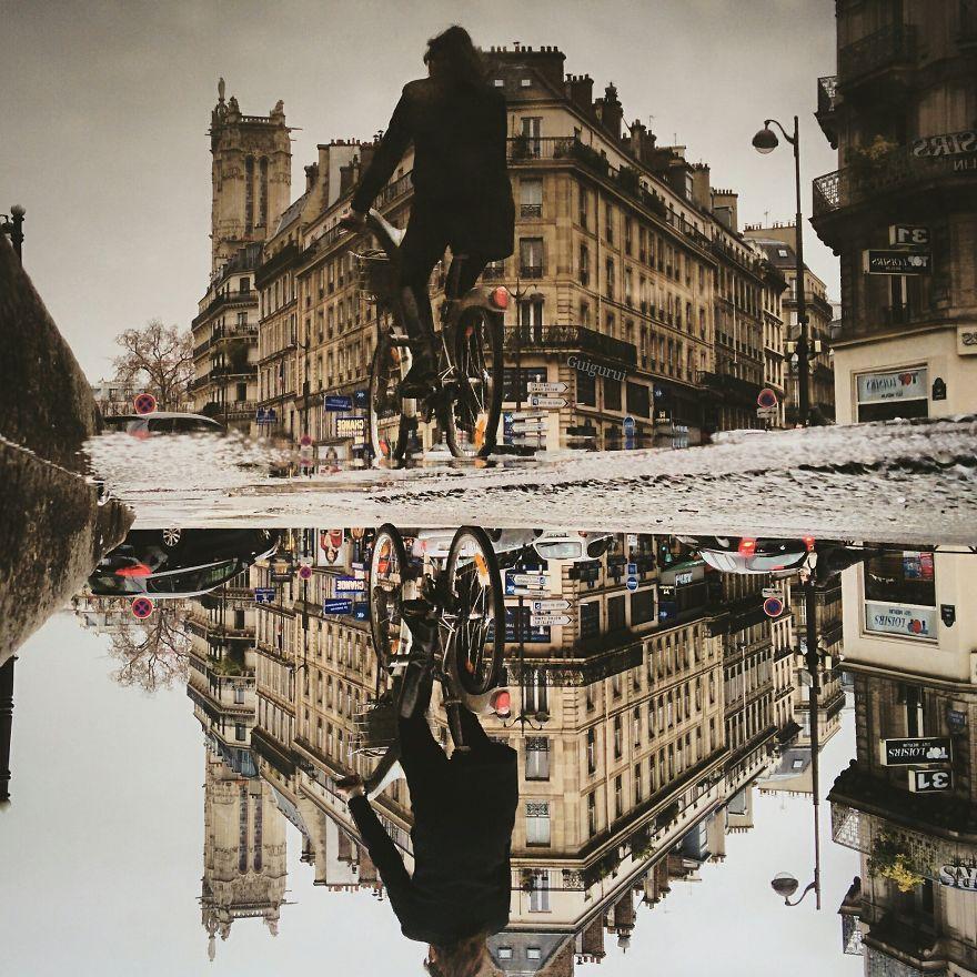 攝影師捕捉倒影中的巴黎 場景似平行世界